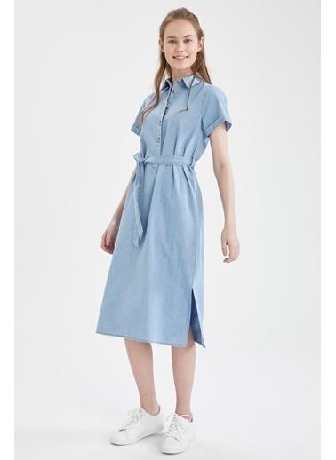 DeFacto Kemer Detaylı Slim Fit Jean Elbise Mavi